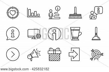 Line Icons Set. Included Icon As Target, Info, Login Signs. Plunger, Latte, Forward Symbols. Megapho