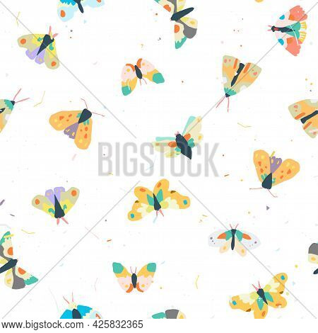 Seamless Colorfull Pattern With Decorative A Moths