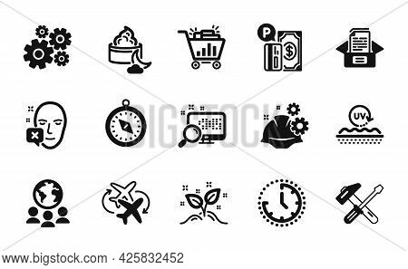 Vector Set Of Seo Shopping, Cogwheel And Documents Box Icons Simple Set. Working Process, Night Crea