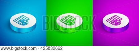 Isometric Line South Korean Won Coin Icon Isolated On Blue, Green And Purple Background. South Korea