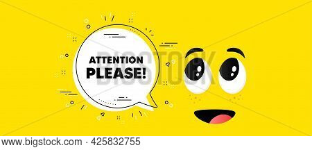 Attention Please Text. Cartoon Face Chat Bubble Background. Special Offer Sign. Important Informatio