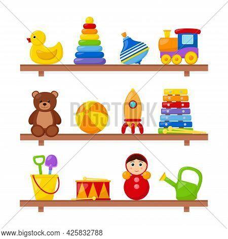 Kid Toys On Wooden Shelves, Vector Illustration