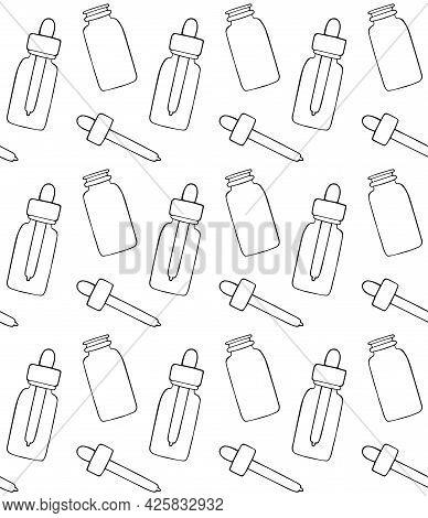 Vector Seamless Pattern Of Hand Drawn Doodle Sketch Oil Essence Bottle Isolated On White Background