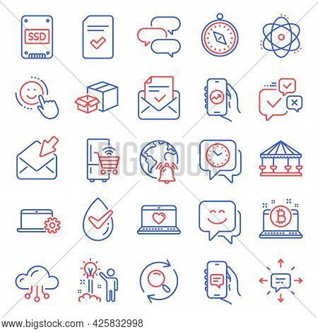 Technology Icons Set. Included Icon As Dermatologically Tested, Atom, Travel Compass Signs. Bitcoin,