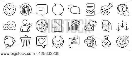 Set Of Technology Icons, Such As Meeting Time, Refer Friend, Scroll Down Icons. Online Voting, Cogwh