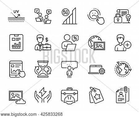 Vector Set Of Outsourcing, Internet Report And Businessman Case Line Icons Set. Photo Cloud, Loyalty