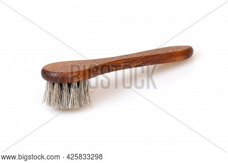 Bristle Wooden Brush For Cleaning Clothes And Shoes Isolated On White Background