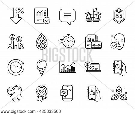 Vector Set Of Health Skin, Arena And Weather Phone Line Icons Set. Ab Testing, Infochart And Low Per