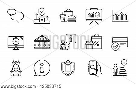 Business Icons Set. Included Icon As Money Diagram, Seo Timer, Chat Message Signs. Hospital Nurse, S