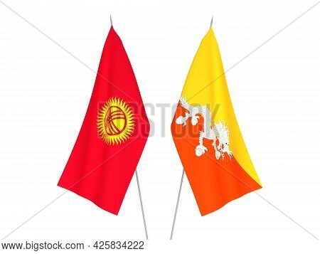 National Fabric Flags Of Kyrgyzstan And Kingdom Of Bhutan Isolated On White Background. 3d Rendering