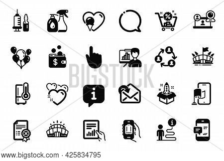 Vector Set Of Business Icons Related To Presentation Board, Hand Click And Baggage App Icons. Teamwo