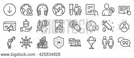Set Of Business Icons, Such As Medical Analyzes, Scroll Down, Time Icons. Puzzle, Medical Syringe, R