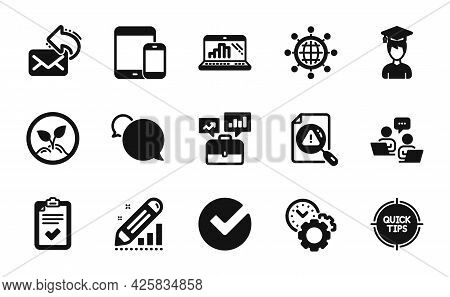 Vector Set Of International Globe, Mobile Devices And Time Management Icons Simple Set. Edit Statist