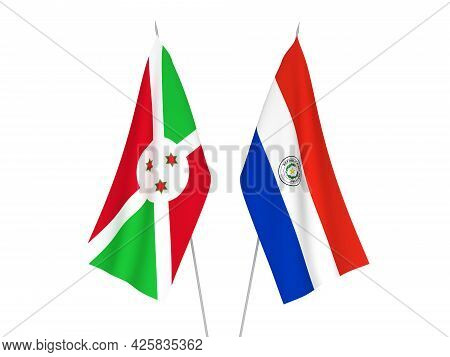 National Fabric Flags Of Burundi And Paraguay Isolated On White Background. 3d Rendering Illustratio