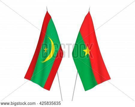 National Fabric Flags Of Burkina Faso And Islamic Republic Of Mauritania Isolated On White Backgroun