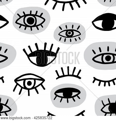 Eye Seamless Pattern. Vector Hand Drawn Wink, Open, Close Eyes With Lash Background