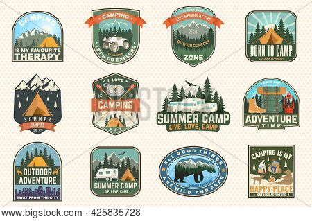 Set Of Rv Camping Badges, Patches. Vector Concept For Shirt Or Logo, Print, Stamp Or Tee. Vintage Ty