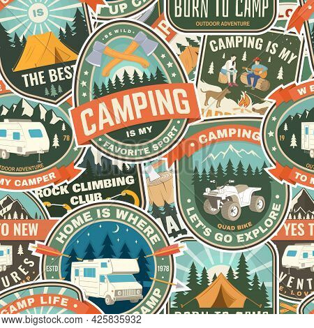 Summer Camp Colorful Seamless Pattern With Rv Trailer, Camping Tent, Campfire, Bear, Camping Tent An
