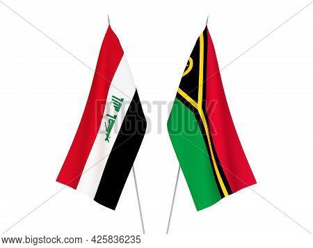 National Fabric Flags Of Iraq And Republic Of Vanuatu Isolated On White Background. 3d Rendering Ill