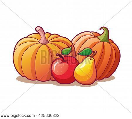 Drawn Fruits And Vegetables Composition Isolated On White Background. . Vector Illustration