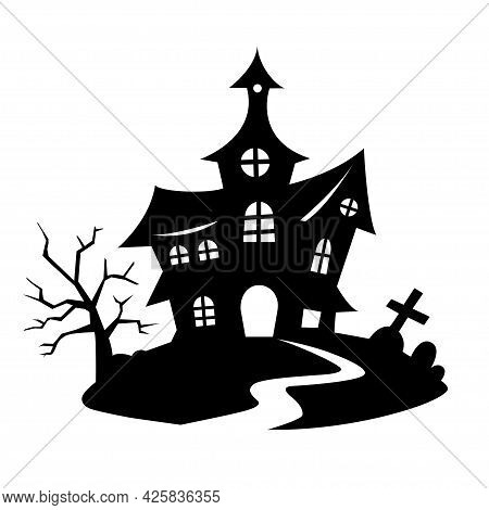 Horror Halloween Tree Silhouette With Ravens And Graves. Vector Illustration For Decorations