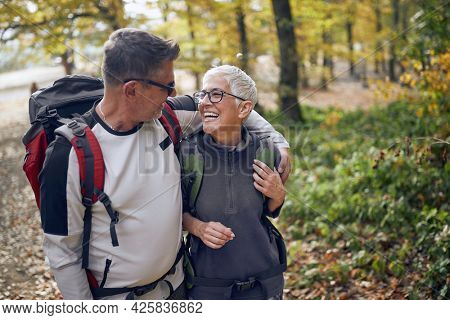 An elderly couple in love enjoying the walk through the woods on a beautiful day