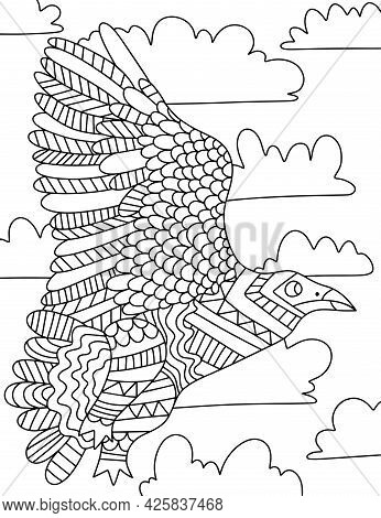 Big Ornamental Bird With Clouds Hand-drawn Coloring Page For Adults Vector Illustration. Stylized Ze