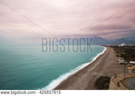 Sea Coast Tilt-shift Effect, Mediterranean Coast Of Turkey, Antalya Embankment On A Cloudy Day