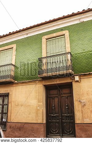 Colorful And Majestic Old House Facade In Villanueva De Los Infantes, Spain In A Sunny Day Of Spring