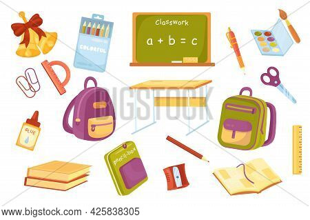 School Supplies Cute Elements Isolated Set. Collection Of Bells, Pencils In Box, Blackboard, Pen, Pa