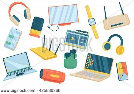 Electronics Cute Elements Isolated Set. Collection Of Headphones, Monitor, Watch, Wifi Router, Smart