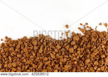Instant Coffee In Granules Place For Text Cope Space. Instant Drink.