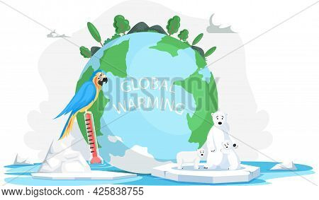 Melting Glaciers Due To Global Warming. Rising Air And Water Temperatures. Colored Parrot Inhabitant