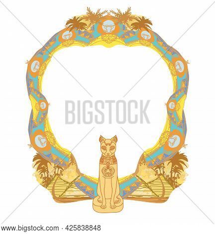 Stylized Egyptian Cat , Decorative Frame , Vector Illustration