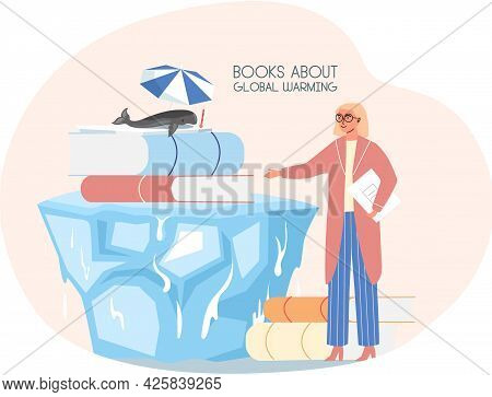 Female Character Is Pointing To Book About Global Warming. Whale Lies Under Umbrella And Suffers Fro