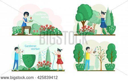 Spring Gardening Flat Composition With Characters Of Gardeners Working In Outdoor Garden Scenes Set