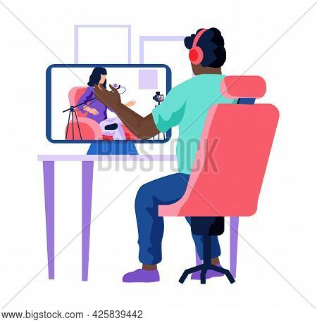 Radio Presenter Is Watching Podcast, Broadcasting In Media. Man Is Sitting At Table With Computer An