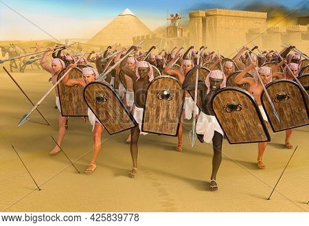 Ancient Pharaoh Spear Thrower Soldiers During A Breakout Attack From A City, Pyramids In The Backgro