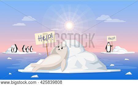 Sad Polar Seal Escapes Melting Glacier. Animals During Global Warming Concept. Cute Penguins And Sea