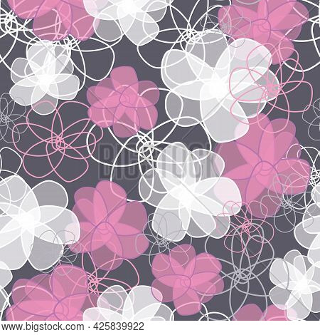 Gray Seamless Vector Pattern For Design And Fashion Prints. Vintage Floral Background. Flowers Patte