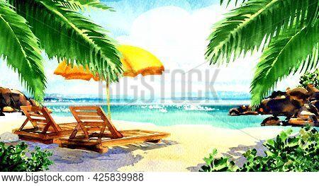 Beautiful Paradise Tropical Island With Sandy Beach, Palms, Sea, Ocean, Chairs, Deckchairs, Umbrella