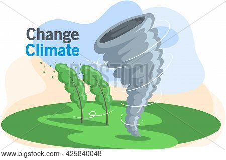 Bad Weather And Climate Change. Natural Landscape With Tornado, Tall Green Trees Bend In Wind. Destr
