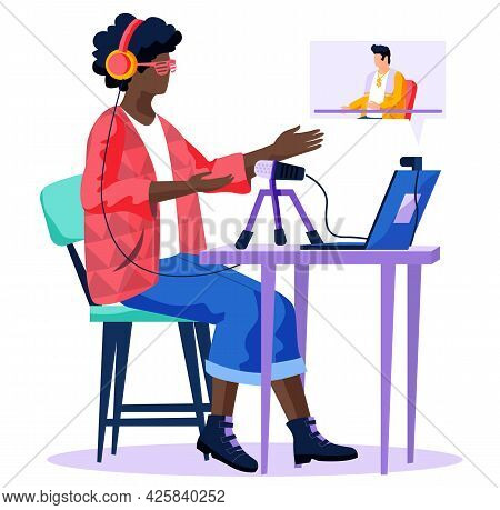 Radio Presenter Is Watching Podcast With Male Speaker. African American Woman Broadcasting In Media.
