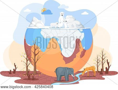 Temperature Rising And Animal Extinction Concept. Melting Glaciers And Drainage Of Soils Due To Glob
