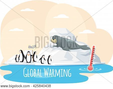 Walrus On Glacier Is Saved From Climate Change And Global Warming. Animals During Global Warming Con