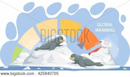 Scale With Indicator Of Global Warming. Earth Temperature Rise And Glacier Melting. Walruses And Pol