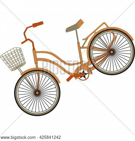 Bicycle With Basket Drives Down. Art Bicycle Close-up. Trendy Flat Style. Bike Design For Cycling Cl