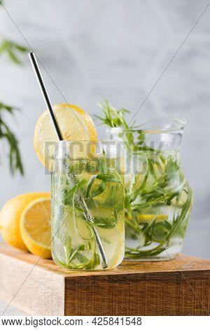 Refreshing Homemade Lemonade With Tarragon And Lemon. Summer Drinks.