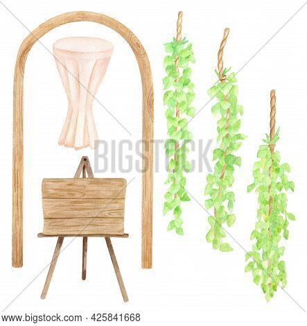Watercolor Wedding Set With Greenery Garland, Wooden Signboard, Altar Ceremony Table And Wedding Arc