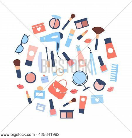 Flat Beauty Products Circle Concept. Woman Accessories Icons On White Background. Girl Treatment Nat